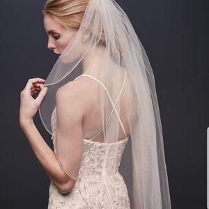 David's Bridal rose gold wedding veil